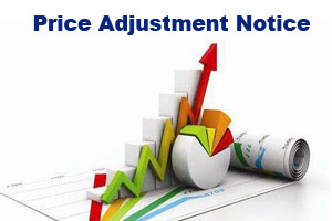 Price Adjustment Notice about orders in 2021